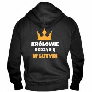 Męska bluza z kapturem na zamek Królowie rodzą się w lutym