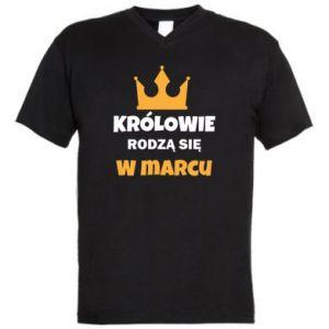 Męska koszulka V-neck Królowie rodzą się w marcu