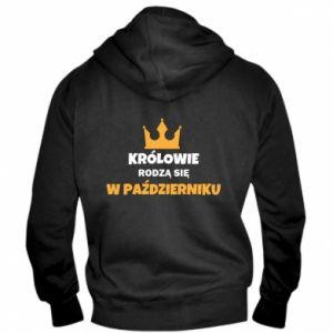 Męska bluza z kapturem na zamek Królowie rodzą się w październiku