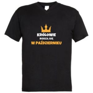 Męska koszulka V-neck Królowie rodzą się w październiku