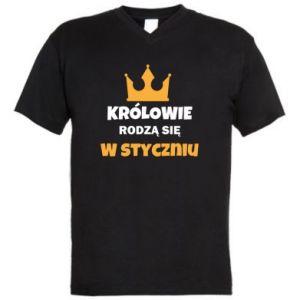 Męska koszulka V-neck Królowie rodzą się w styczniu