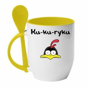 Kubek z ceramiczną łyżeczką Ku-ku-ryku - PrintSalon