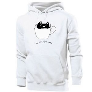 Men's hoodie Tea time, right meow - PrintSalon