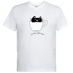 Men's V-neck t-shirt Tea time, right meow - PrintSalon