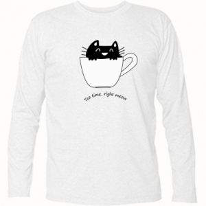 Long Sleeve T-shirt Tea time, right meow - PrintSalon