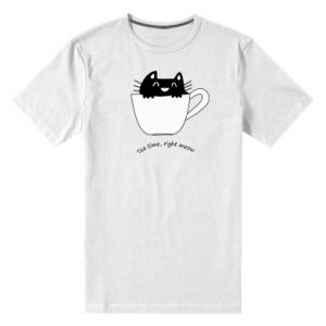 Men's premium t-shirt Tea time, right meow - PrintSalon