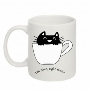Mug 330ml Tea time, right meow - PrintSalon