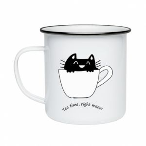 Enameled mug Tea time, right meow - PrintSalon