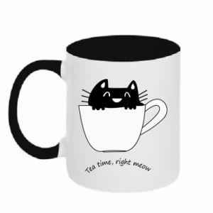 Kubek dwukolorowy Tea time, right meow - PrintSalon