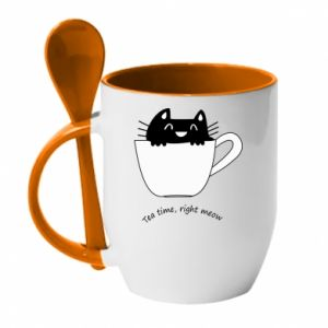 Mug with ceramic spoon Tea time, right meow - PrintSalon