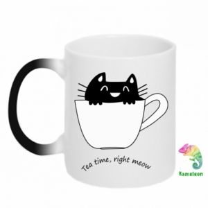 Kubek-kameleon Tea time, right meow - PrintSalon
