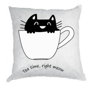 Pillow Tea time, right meow - PrintSalon