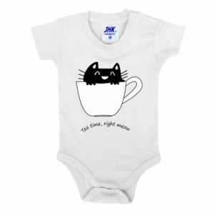 Baby bodysuit Tea time, right meow - PrintSalon