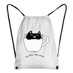 Plecak-worek Tea time, right meow - PrintSalon