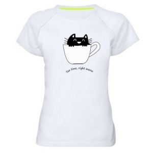 Women's sports t-shirt Tea time, right meow - PrintSalon