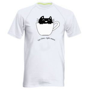 Men's sports t-shirt Tea time, right meow - PrintSalon