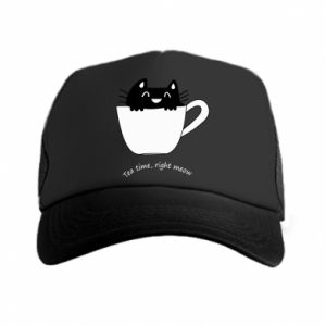 Trucker hat Tea time, right meow - PrintSalon
