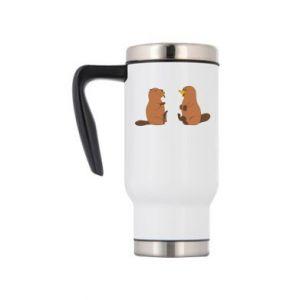 Travel mug Beaver and platypus