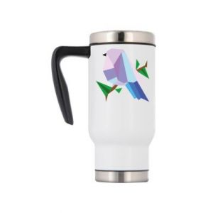 Travel mug Bird on a branch abstraction - PrintSalon