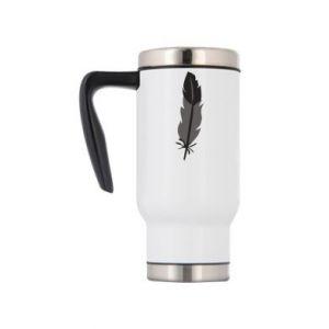 Travel mug Black feather - PrintSalon