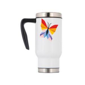 Travel mug Bright butterfly abstraction - PrintSalon