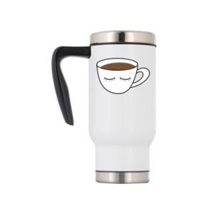 Travel mug Cup of coffee with closed eyes - PrintSalon