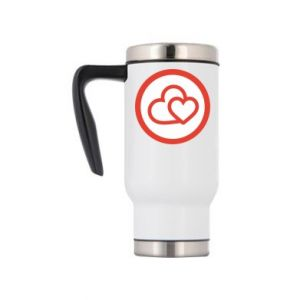 Travel mug Two hearts