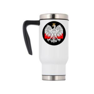 Travel mug Polish emblem and flag of Poland - PrintSalon