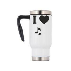 Travel mug I love music