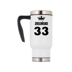 Travel mug name, figure and crown - PrintSalon