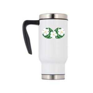 Travel mug Monstera with flowers - PrintSalon