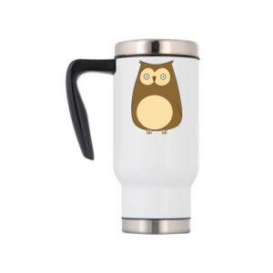 Travel mug Owl with big eyes