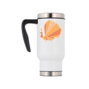 Travel mug Peacock Abstraction - PrintSalon
