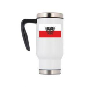Travel mug Polish flag and coat of arms