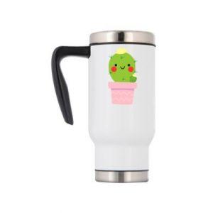 Travel mug Cute cactus smiling
