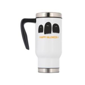 Travel mug Three ghosts Happy halloween - PrintSalon