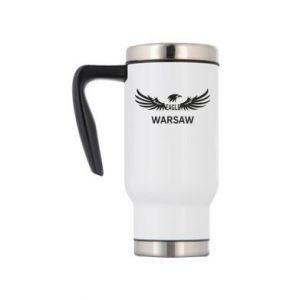 Travel mug Warsaw eagle black or white - PrintSalon