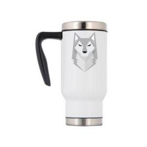 Travel mug Wolf graphics minimalism - PrintSalon