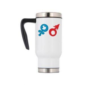 """Travel mug Signs """"He"""" and """"She"""""""