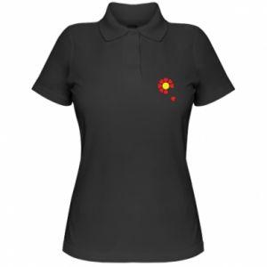 Damska koszulka polo Kwiat serc - PrintSalon