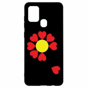Etui na Samsung A21s Kwiat serc