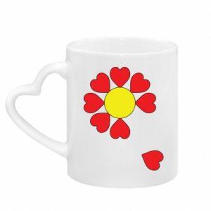 Kubek z uchwytem w kształcie serca Kwiat serc