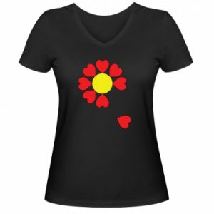 Damska koszulka V-neck Kwiat serc - PrintSalon