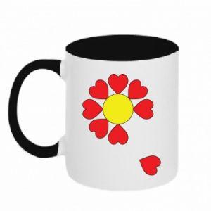 Kubek dwukolorowy Kwiat serc - PrintSalon