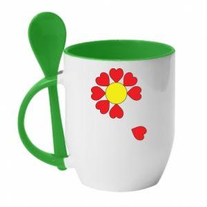 Kubek z ceramiczną łyżeczką Kwiat serc - PrintSalon