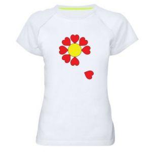 Damska koszulka sportowa Kwiat serc - PrintSalon