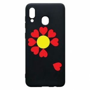 Etui na Samsung A20 Kwiat serc