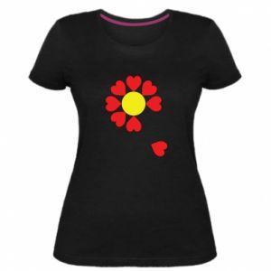 Damska premium koszulka Kwiat serc - PrintSalon