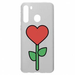 Etui na Samsung A21 Kwiat - serca
