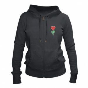 Women's zip up hoodies Flower - heart